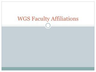 WGS Faculty Affiliations