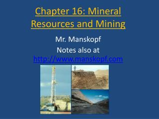 Chapter 16: Mineral Resources and Mining