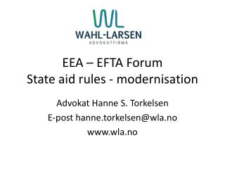 EEA – EFTA Forum State  aid rules  -  modernisation