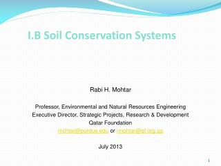 I.B Soil Conservation Systems