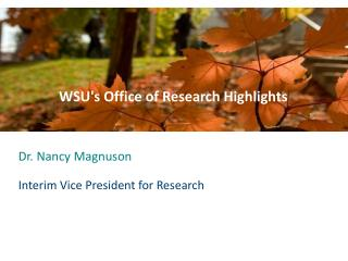 WSU ' s  Office of Research Highlights