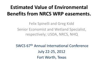 Estimated  Value of Environmental Benefits from NRCS WRP easements.