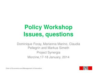 Policy Workshop Issues, questions