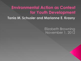 Environmental  Action as Context for Youth Development
