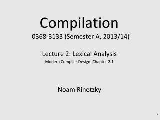 Compilation   0368 - 3133 (Semester A, 2013/14)