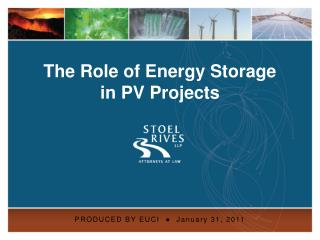 The Role of Energy Storage  in PV Projects