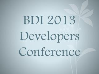 BDI 2013 Developers Conference