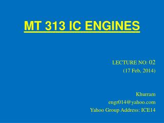 MT 313 IC ENGINES