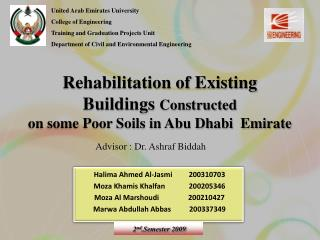 Rehabilitation of Existing Buildings  Constructed on some Poor Soils in Abu Dhabi  Emirate