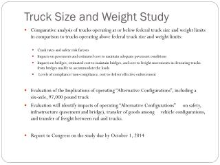 Truck Size and Weight Study