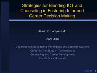 Strategies for Blending ICT and Counseling in Fostering Informed  Career  Decision Making