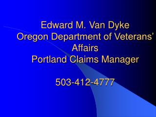 edward m. van dyke oregon department of veterans