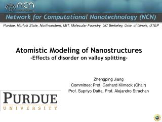Atomistic Modeling of Nanostructures -Effects of disorder on valley splitting-