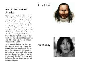 Inuit Arrival in North America