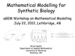 Mathematical Modelling for Synthetic Biology