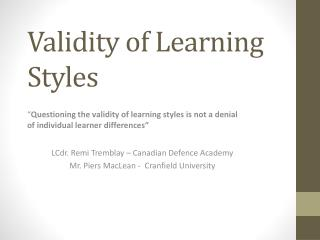Validity of Learning Styles