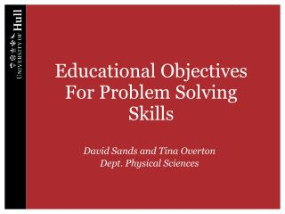 Educational Objectives For Problem Solving Skills