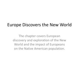 Europe Discovers the New World