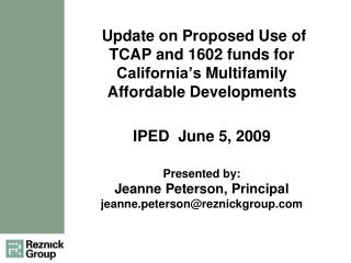 """TCAP"" Tax Credit Assistance Program"