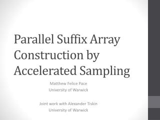 Parallel Suffix Array Construction by Accelerated Sampling