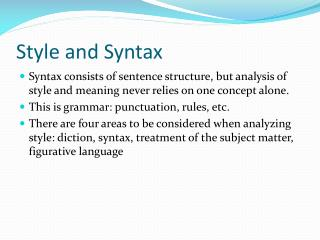 Style and Syntax