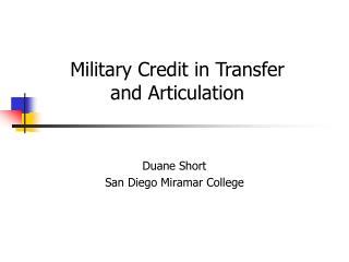 Duane Short San Diego Miramar College