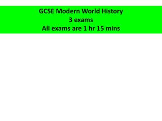 GCSE Modern World History 3 exams All exams are 1  hr  15  mins