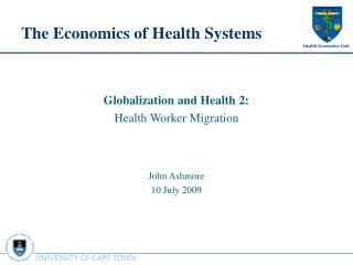 The Economics of Health Systems