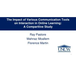 The  Impact of Various Communication Tools on Interaction in Online Learning:  A Comparitive Study