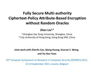Fully Secure Multi-authority  Ciphertext -Policy Attribute-Based Encryption  without Random Oracles