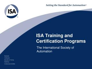 ISA  Training and Certification Programs