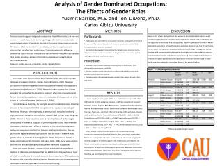 Analysis of Gender Dominated Occupations:  The  Effects  of  Gender  Roles Yusimit  Barrios, M.S. and Toni  DiDona , Ph