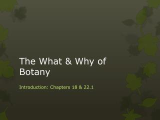 The What & Why of  Botany