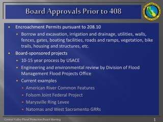 Board Approvals Prior to 408