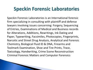 Speckin Forensic Laboratories