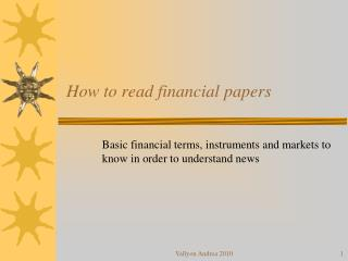 How to read fin an cial papers