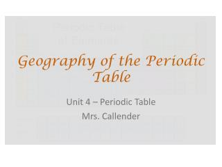 Geography of the Periodic Table
