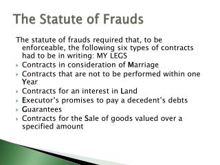 The Statute of  Frauds