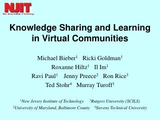 knowledge sharing and learning in virtual communities