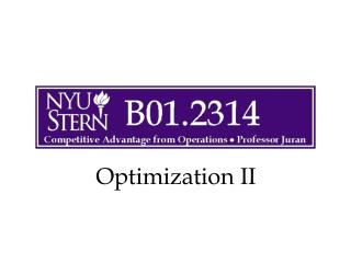 Optimization II