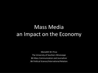Mass Media  an Impact on the Economy
