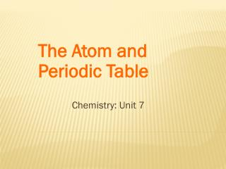 The Atom and Periodic Table