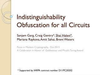 Indistinguishability  Obfuscation for all Circuits