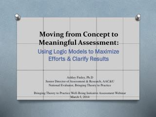 Moving from Concept to Meaningful Assessment :