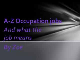 A-Z Occupation jobs