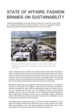 STATE OF AFFAIRS: FASHION BRANDS ON SUSTAINABILITY