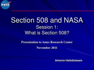 Section 508 and  NASA Session 1: What is Section 508?