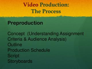 Video  Production:   The Process