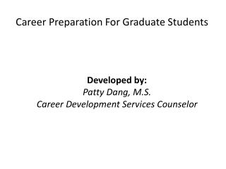 Career Preparation  For Graduate Students