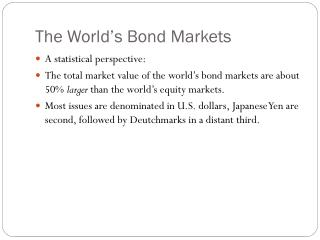 The World's Bond Markets
